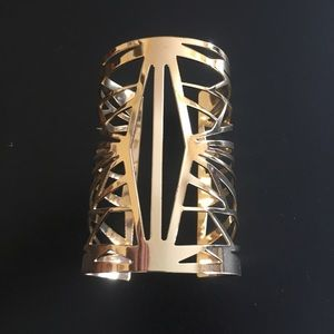 Gold tone large statement geometric boho cuff